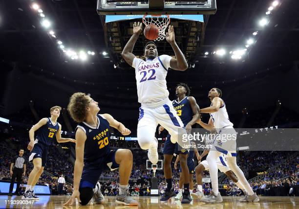 Silvio De Sousa of the Kansas Jayhawks is fouled while shooting during the game against the UMKC Kangaroos at Allen Fieldhouse on December 14, 2019...