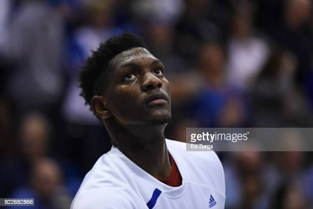 Silvio De Sousa of the Kansas Jayhawks looks on during warmups prior to a game against the West Virginia Mountaineers at Allen Fieldhouse on February...