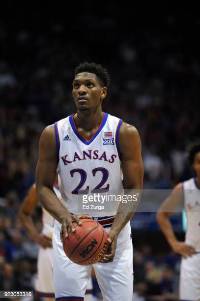 Silvio De Sousa of the Kansas Jayhawks looks to shoot a free throw against the Oklahoma Sooners at Allen Fieldhouse on February 19 2018 in Lawrence...