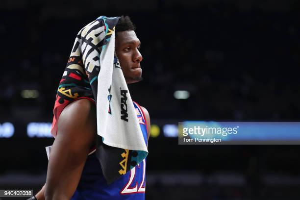 Silvio De Sousa of the Kansas Jayhawks reacts after being defeated by the Villanova Wildcats during the 2018 NCAA Men's Final Four Semifinal at the...