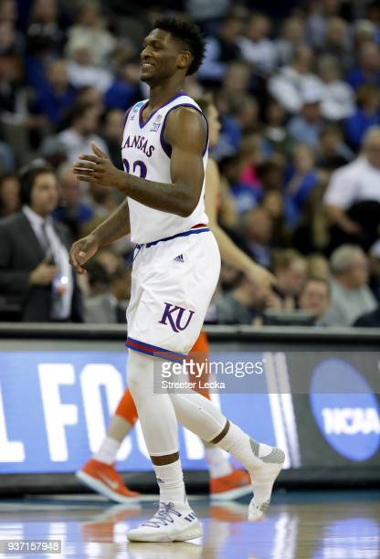 Silvio De Sousa of the Kansas Jayhawks reacts against the Clemson Tigers during the second half in the 2018 NCAA Men's Basketball Tournament Midwest...