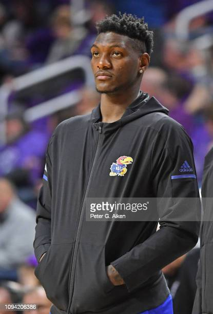 Silvio De Sousa of the Kansas Jayhawks watches his teammates warm up prior to a game against the Kansas State Wildcats on February 5 2019 at Bramlage...
