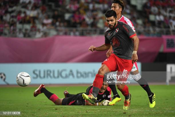 Silvio Ezequiel Romero of Independiente scores the opening goal during the Suruga Bank Championship match between Cerezo Osaka and Independiente at...