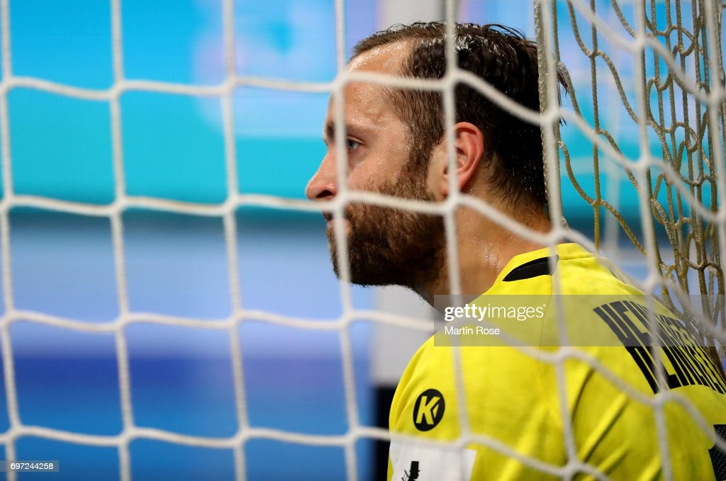 Silvio Heinevetter, goalkeeper of Germany reacts during the 2018 EHF European Championship Qualifier between Germany and Switzerland at OVB-Arena on June 18, 2017 in Bremen, Germany.