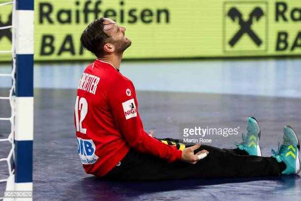 Silvio Heinevetter goalkeeper of Germany reacts during the Men's Handball European Championship Group C match between Slovenia and Germany at Arena...