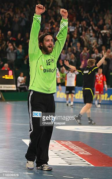 Silvio Heinevetter of Germany celebrates the 39-28 victory after the Handball Euro Qualifier match between Germany and Iceland at Gerry Weber stadium...