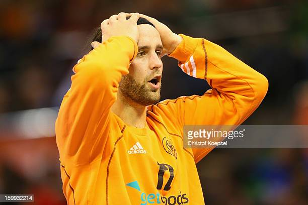 Silvio Heinevetter of Germany looks dejected during the quarterfinal match between Spain and Germany at Pabellon Principe Felipe Arena on January 23...
