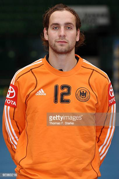 Silvio Heinevetter poses during Team presentation of the German Handball National Team at the Gerry Weber Stadium on October 27, 2009 in Halle,...