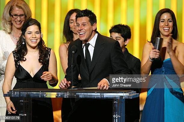 Silvio Horta show writer with America Ferrera Mark Indelicato and Ana Ortiz winners Outstanding Comedy Series for Ugly Betty