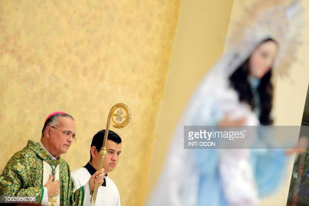 Silvio Jose Baez Ortega Auxiliary Bishop of the Archdiocese of Managua celebrates mass at the 'San Miguel Arcangel' church in Managua on July 22 2018...