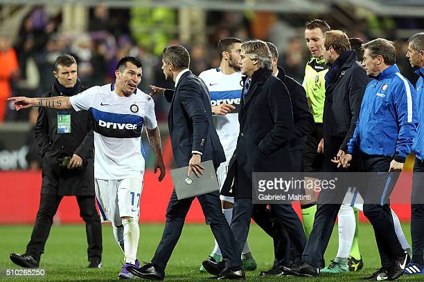 Silvio Mazzoleni referee talks with leaders FC Internazionale Milano after the game during the Serie A match between ACF Fiorentina and FC...