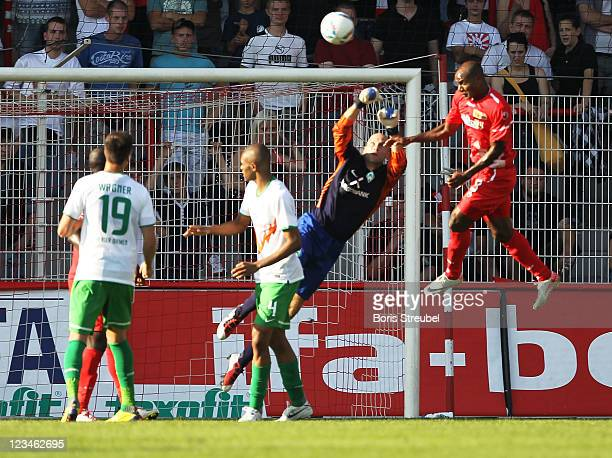 Silvio of Berlin scores his team's second goal during the Season Friendly match between Union Berlin and Werder Bremen at Alte Foersterei on...