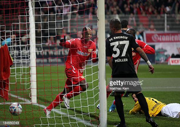 Silvio of Berlin scores the first goal during the Second Bundesliga match between 1.FC Union Berlin and FC Energie Cottbus at Stadion An der Alten...