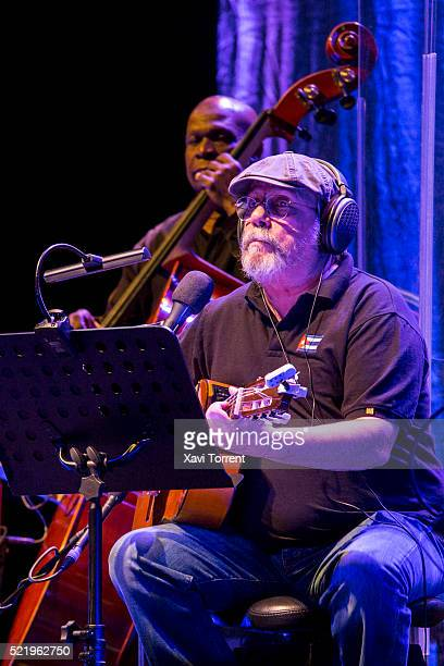 Silvio Rodriguez performs on stage at Palau Sant Jordi on April 17 2016 in Barcelona Spain