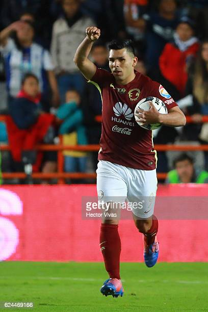 Silvio Romero of America celebrates after scoring the first goal of his team during the 17th round match between Pachuca and America as part of the...