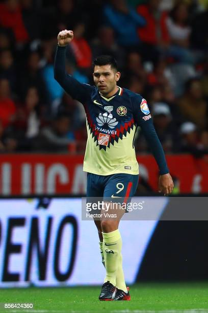 Silvio Romero of America celebrates after scoring the first goal of his team during the 12th round match between Toluca and America as part of the...