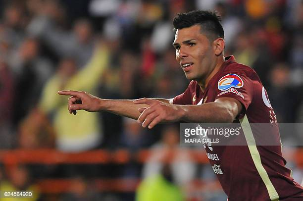 Silvio Romero of America celebrates his goal against Pachuca during their Mexican Apertura 2016 Tournament football match at Hidalgo stadium on...
