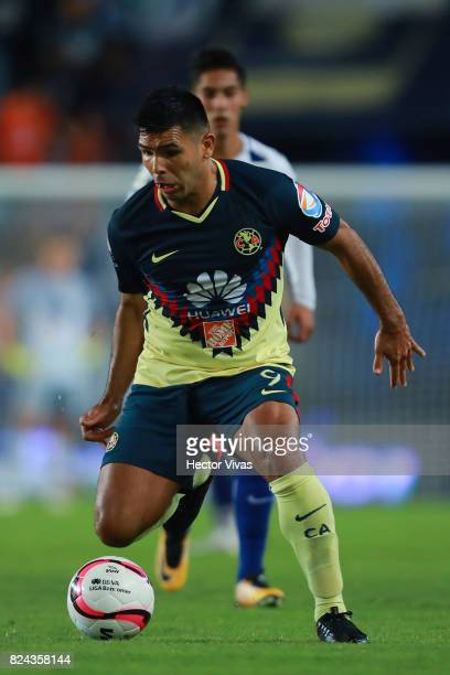 Silvio Romero of America drives the ball during the 2nd round match between Pachuca and America as part of the Torneo Apertura 2017 Liga MX at...
