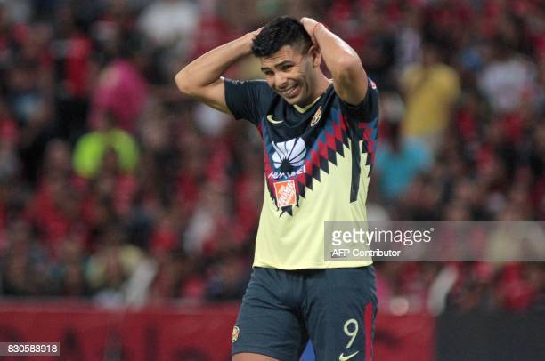 Silvio Romero of America reacts during their Mexican Apertura 2017 Tournament football match against Atlas at Jalisco stadium on August 11 in...