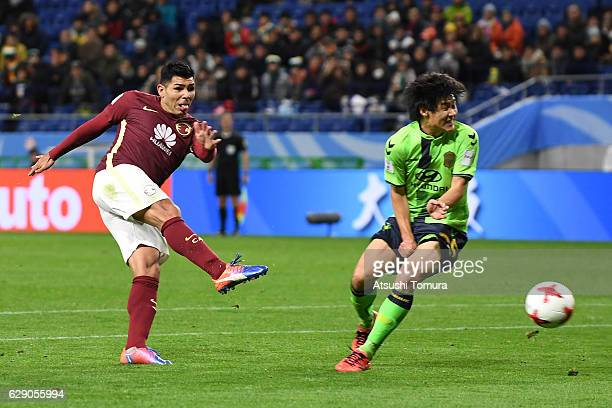 Silvio Romero of Club America takes a shot to scorehis second goal during the FIFA Club World Cup quarter final match between Jeonbuk Hyundai Motors...