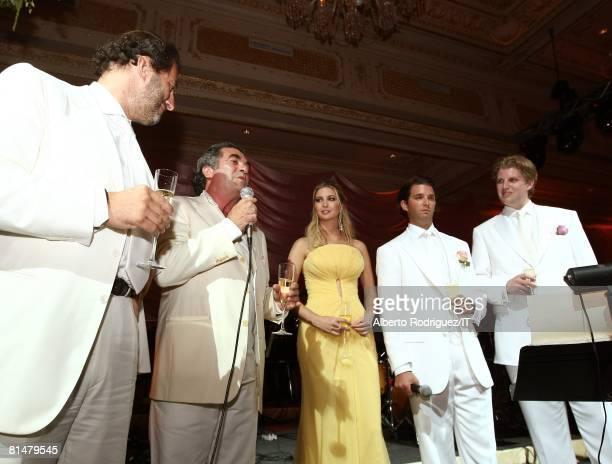 Silvio Sardi Alfonso Telese Ivanka Trump Donald Trump Jr and Eric Trump at the wedding reception of Ivana Trump and Rossano Rubicondi at the MaraLago...