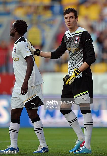 Silviu Lung and Seidu Yahaya of FC Astra Ploiesti in action during the Romanian First Division match between FC Petrolul Ploiesti and FC Astra...