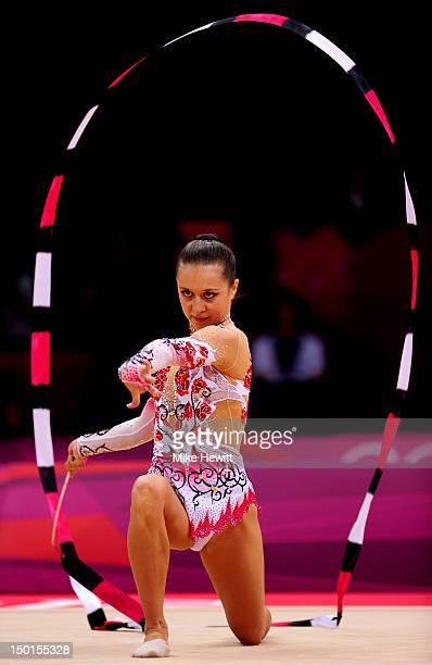 Silviya Miteva of Bulgaria competes with the ribbon during the Individual All-Around Rhythmic Gymnastics final on Day 15 of the London 2012 Olympics...