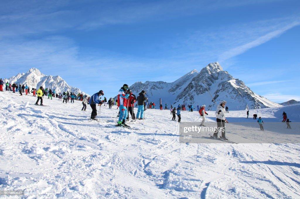 Silvretta Ischgl Samnaun Ski resort and mountain range : Stock Photo