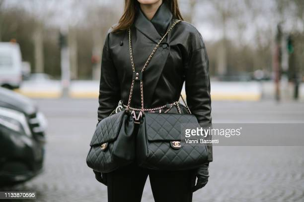 Silvya Haghjoo poses wearing Chanel after the Chanel show at the Grand Palais during Paris Fashion Week Womenswear Fall Winter 2019/2020 on March 05...