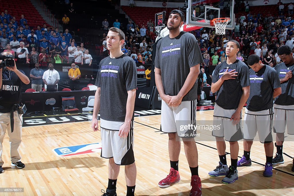 Sim Bhullar #55 of the Sacramento Kings looks on during the Samsung NBA Summer League 2014 on July 21, 2014 at the Thomas & Mack Center in Las Vegas, Nevada.