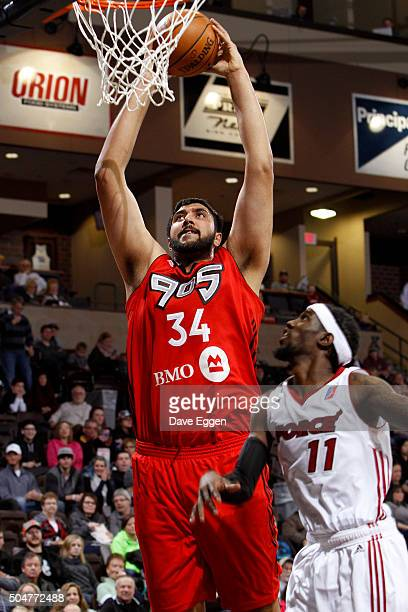 Sim Bhullar of the Toronto Raptors 905 dunks the ball against the Sioux Falls Skyforce at the Sanford Pentagon on January 12 2016 in Sioux Falls...