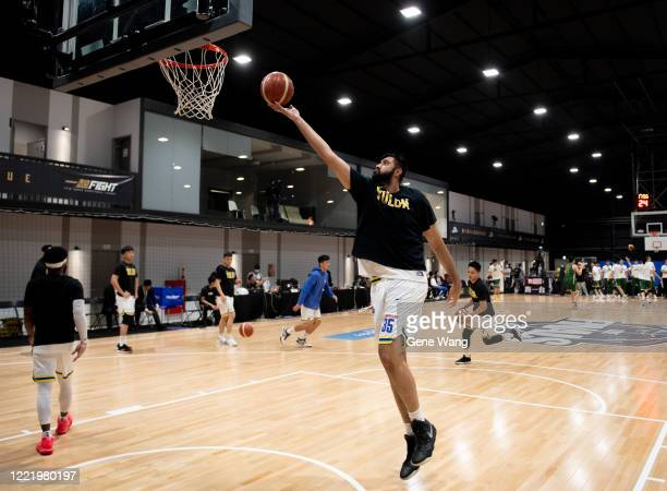 Sim Bhullar of Yulon Luxgen Dinos practices prior to the SBL Finals Game Six between Taiwan Beer and Yulon Luxgen Dinos at Hao Yu Trainning Center on...