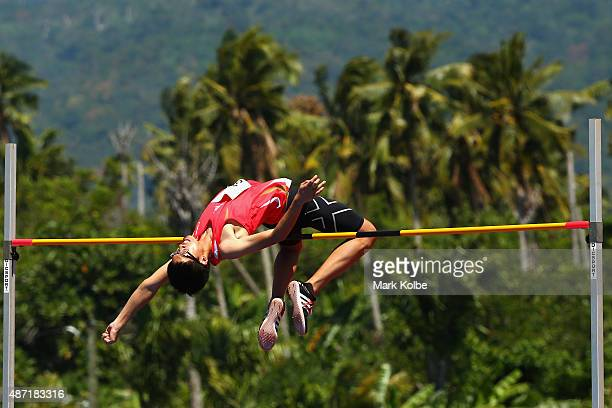 Sim Hao Ong of Singapore clears the bar in the boys high jump during the athletics competition at the Apia Park Sports Complex on day one of the...