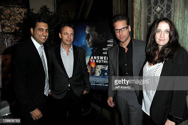 Sim Sarna Matt Leutwyler Dane Cook and Amanda Marshall attends premiere party for Awnsers To Nothing at St Felix on October 21 2011 in Hollywood...