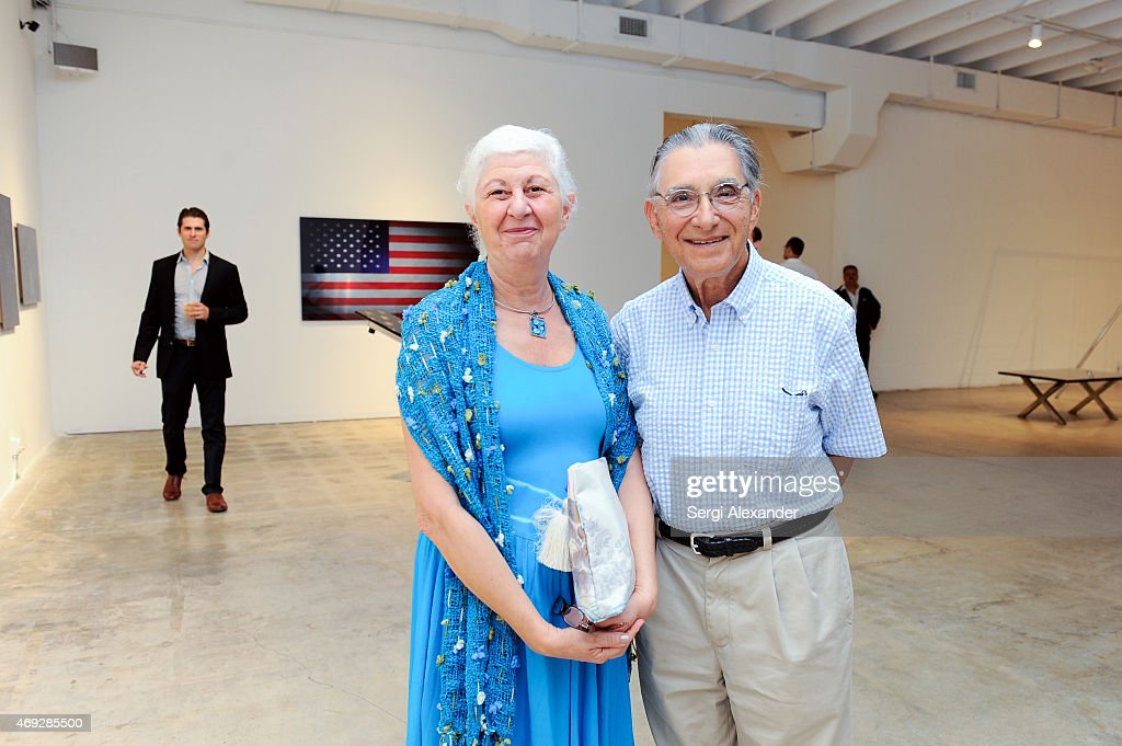 Sima Greenblat and Eduard Greenblat attend Andrew Levitas Metalwork Playground opening reception at Blueshift Wynwood on April 10, 2015 in Miami, Florida.