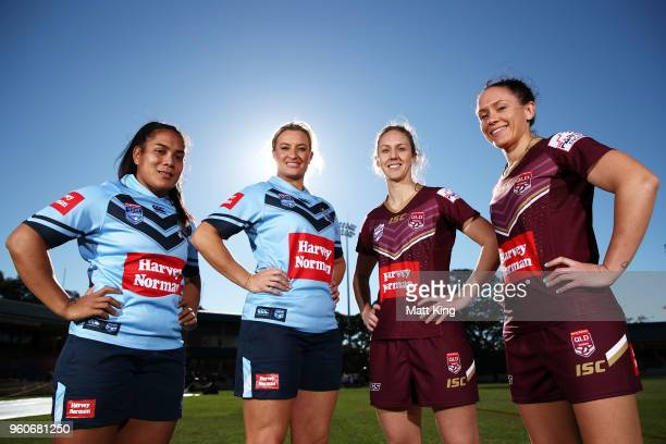 Simaima Taufa and Ruan Sims of NSW and Karina Brown and Brittany Breayley of Queensland pose during a Women's State of Origin media opportunity at...