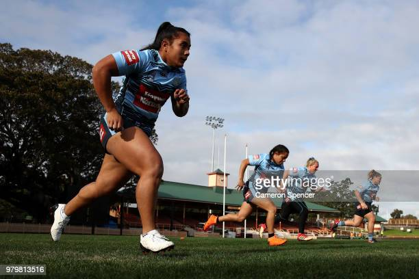 SYDNEY AUSTRALIA JUNE Simaima Taufa of the Blues warms up during the New South Wales women's State of Origin captain's run at North Sydney Oval on...