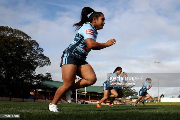 Simaima Taufa of the Blues warms up during the New South Wales women's State of Origin captain's run at North Sydney Oval on June 21 2018 in Sydney...