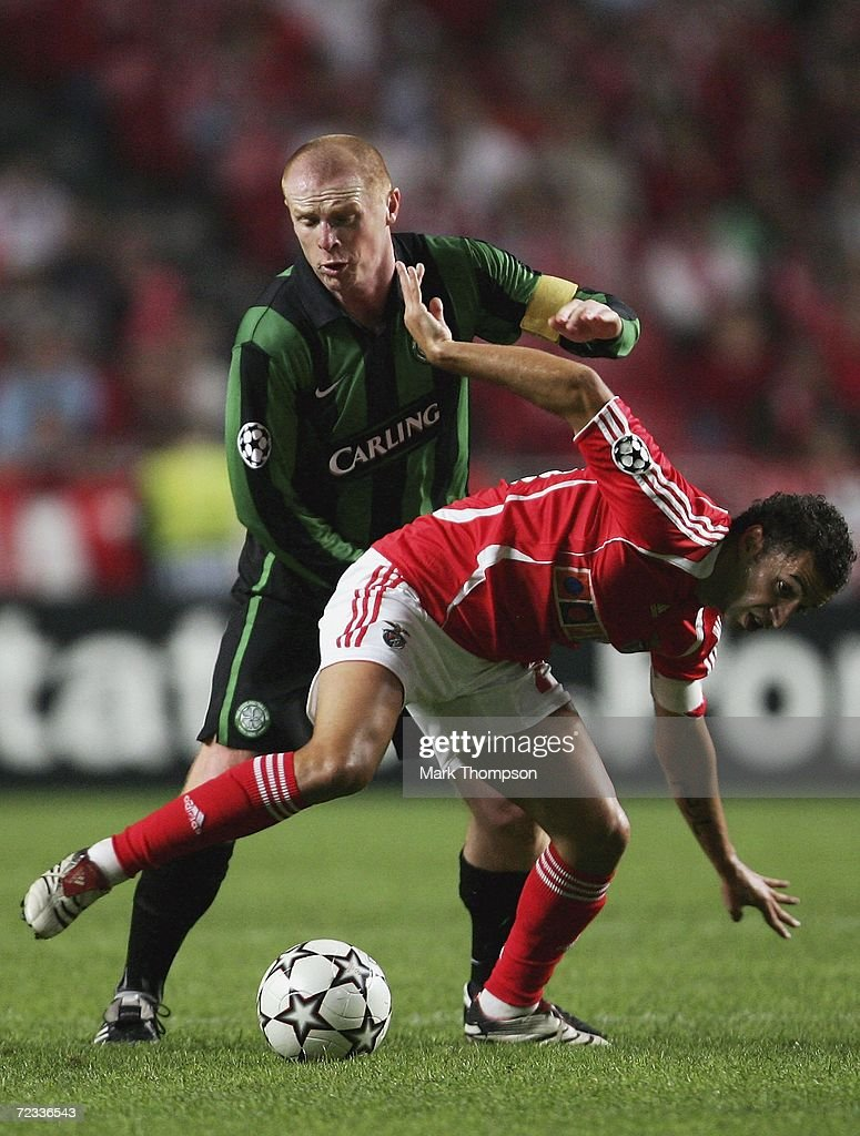 Simao of Benfica tangles with Neil Lennon of Celtic during the UEFA Champions League group A match between Benfica and Celtic at the Estadio da Luz on November 1, 2006 in Lisbon, Portugal.
