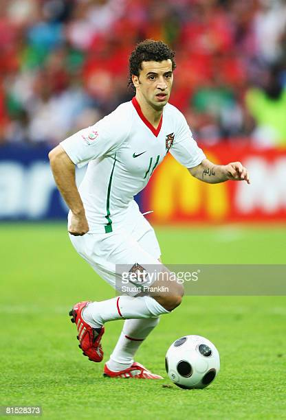 Simao of Portugal in action during the UEFA EURO 2008 Group A match between Czech Republic and Portugal at Stade de Geneve on June 11, 2008 in...