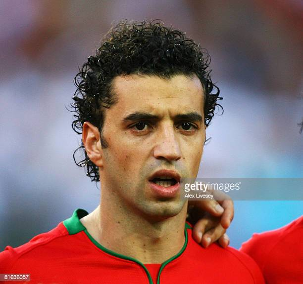 Simao of Portugal looks on during the UEFA EURO 2008 Quarter Final match between Portugal and Germany at St. Jakob-Park on June 19, 2008 in Basel,...