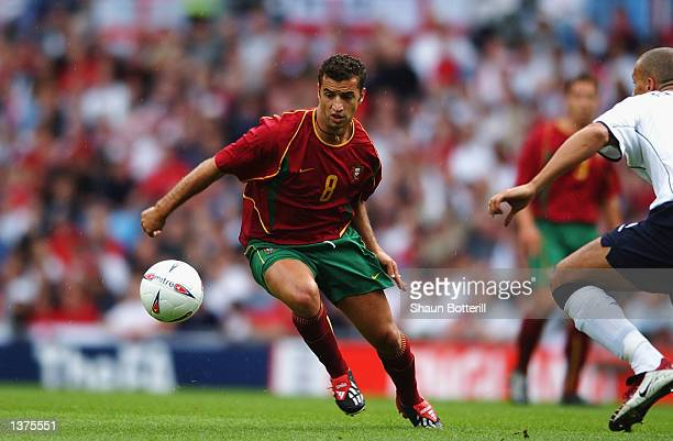 Simao Sabrosa of Portugal in action during the International Friendly match between England and Portugal at Villa Park in Birmingham on September 7,...