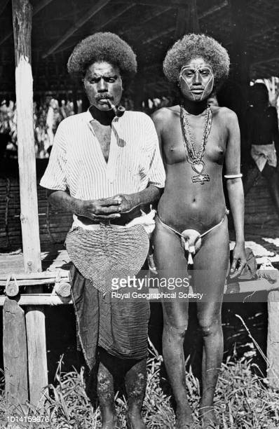 Simbo Islands husband and wife There is no official date for this image possibly taken c 1900 Solomon Islands 1900