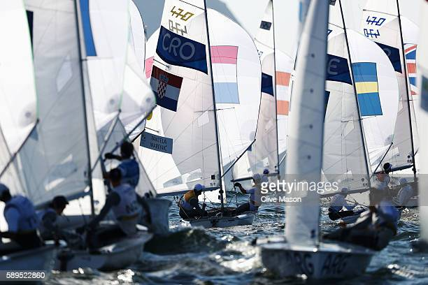 Sime Fantela of Croatia and Igor Marenic of Croatia compete in the Men's 470 class on Day 9 of the Rio 2016 Olympic Games at the Marina da Gloria on...