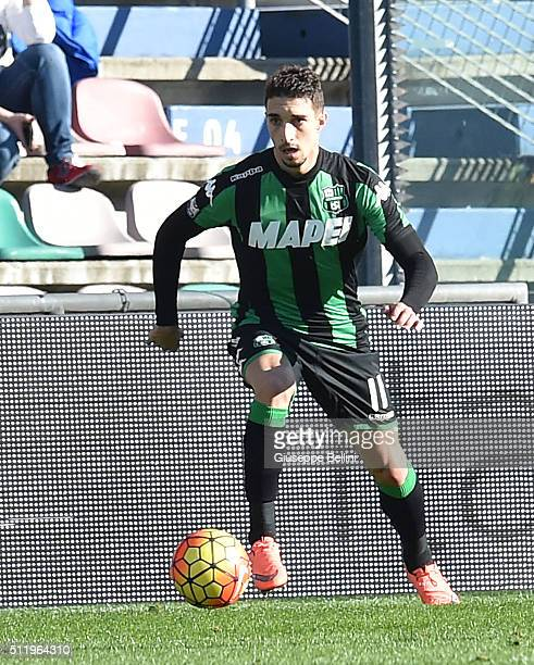 Sime Versaliko of Sassuolo in action during the Serie A match between US Sassuolo Calcio and Empoli FC at Mapei Stadium Città del Tricolore on...