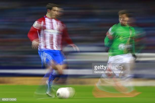 Sime Vrsaljko of Atletico de Madrid controls the ball during the Copa del Rey Round of 16 match between Club Atletico de Madrid and CD Guijuelo at...