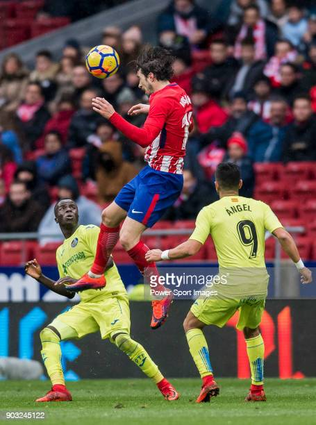 Sime Vrsaljko of Atletico de Madrid heads the ball during the La Liga 201718 match between Atletico de Madrid and Getafe CF at Wanda Metropolitano on...