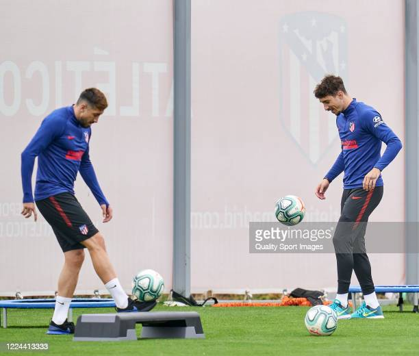 Sime Vrsaljko of Atletico de Madrid in action during a training session at Estadio Cerro del Espino on May 12 2020 in Madrid Spain