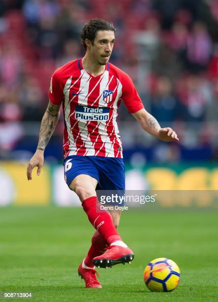 Sime Vrsaljko of Atletico de Madrid passes the ball during the La Liga match between Atletico Madrid and Girona at estadio Wanda Metropolitano on...