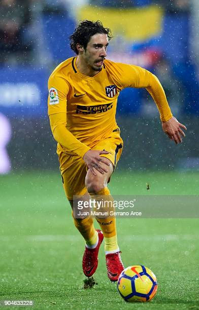 Sime Vrsaljko of Atletico Madrid controls the ball during the La Liga match between SD Eibar and Atletico Madrid at Ipurua Municipal Stadium on...